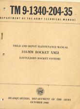 TM9-1340-204-35 XM51 318MM Rocket Littlejohn 1960 Technical Manual Book USA