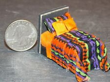 Dollhouse Miniature Bed Orange 1:48 Quarter inch scale 1/4 G77 Dollys Gallery