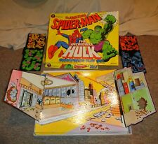Vintage 1979 Marvel Amazing Spider-Man & Incredible Hulk Colorforms Play Set !
