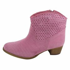 Size 10.5 Women's Pink Suede Ankle BOOTS Made in Spain Big Large Shoes Cowboy