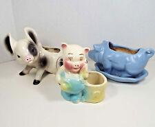 Vintage Pig Planters Mid Century Modern Piglet Vase Retro