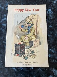 WW1 Christmas Happy New Year Greetings Postcard Love & A Better Time Soon Dad xx