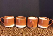 2014 Starbucks Coffee Brown Rust Caramel Creamy White Set of 4 MUGS 10 oz EUC