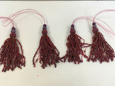 Set Of 4 Beaded Purple Red Lavish Tassels Tiebacks Tassle