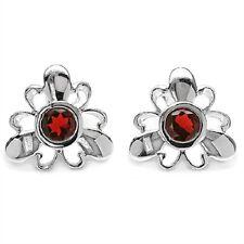 Flowery 2,20 Carat Garnet Studs, Earrings, 925 Silver, Rhodium-Plated