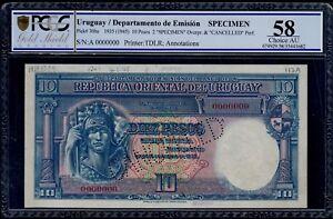 URUGUAY SPECIMEN  10 PESOS  L. 1935    PICK #  30bs  PCGS 58 CHOICE AU.