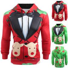 UK Men's Christmas Suit 3D Printed Hoodie Sweatshirt Pullover Coats Jumper Tops