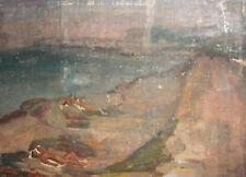 Vintage fauvist landscape seascape beach nudes oil painting