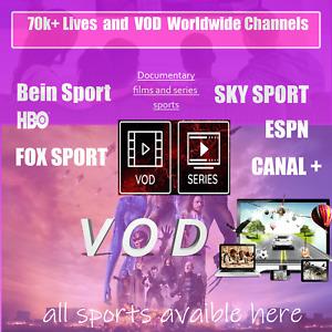 IP TV PREMIUM SOUSCRIPTION 1/3/6/12 MONTHS 70K+ Lives M3u-MAG Hight Quality lot
