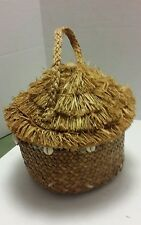 Capelli Tiki Hut Purse Woven Straw Bead Shell Trim Round Zip Opening Vintage