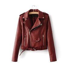 Fashion Women Ladies Winter PU Leather Biker Coat Short Punk Motorcycle Jacket