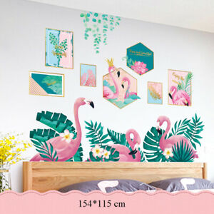 Flamingo Tropical Leaves Removable Flower Wall Stickers Decals for Home Decor