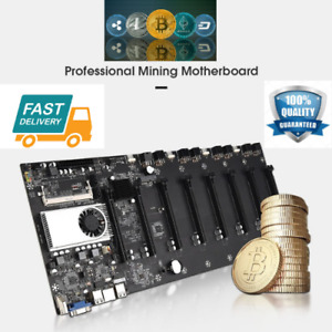 BTC-37 Crypto Mining Machine motherboard + onboard cpu 8 graphics card plugs