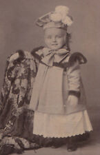Vintage Old FASHION PHOTO c.1880 CHILD Hat Coat BIG BOW Lace Dress