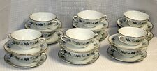 "Vintage Royal Ceramics ""Woodrow"" Flat Cream Soup Bowls & Saucers, Set of Twelve"