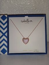 ISABELLA M.BOSTON Women's Rose Gold Sterling Silver Necklace Crystal Heart ITALY