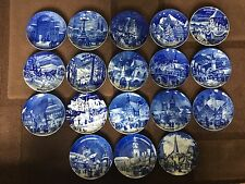 Collection Of 18 Echt Kobalt  Christmas Blue China Display Plates Various Years