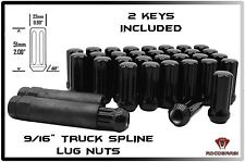 "FORD & DODGE 32 BLACK 2"" TALL TRUCK 7 SPLINE ACORN LUG NUTS LOCKING + 2 KEYS"