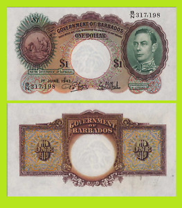 BARBADOS 1 DOLLAR 1939 UNC - Reproduction