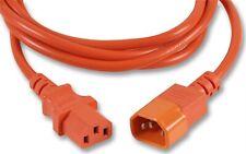 IEC Extension Lead 3m Orange C13 to C14 Mains Cable