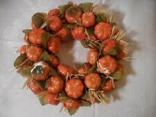 Thanksgiving VINTAGE PUMPKIN WREATH  Holiday Autumn Fall 9""
