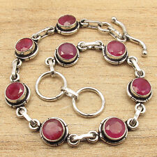 Red Gemstones BRACELET 7.6 Inch ! 925 Silver Plated Simulated RUBY JEWELRY