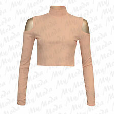 Ladies Womens Long Sleeve Shoulder Cut out Ribbed Polo Turtle Neck Crop Top 8-14 Nude SM 8-10