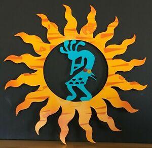 """KOKOPELLI SUN 16"""" Metal Wall Art SW Indoor/Outdoor Yellow, Rustic Orange,Turq."""