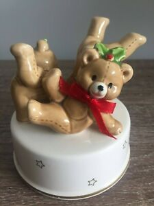 Vintage Christmas Teddy Bears Music Box Plays Babes in Toyland Made in Japan