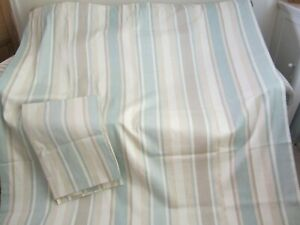"""LOVELY PAIR LARGE LAURA ASHLEY AWNING STRIPE CURTAINS 90""""L X 60"""" W LOVELY COND"""