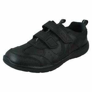 Boys Clarks Hook & Loop Leather & Synthetic School Shoes Scooter Run