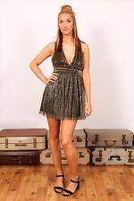 black & gold pleated gold lurex ballerina mini dress TOPSHOP size 8