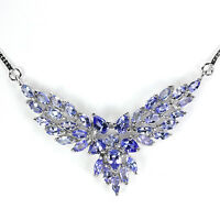 Sterling Silver 925 Genuine Natural Blue Violet Tanzanite Necklace 18 Inch