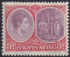 St Kitts & Nevis 1938 3d dull reddish-purple & scarlet sg 73 MH