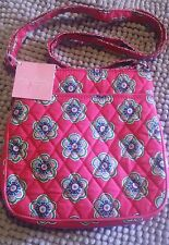 NWT VERA BRADLEY DOUBLE ZIP HIPSTER PINK SWIRLS FLOWERS BREAST CANCER  +