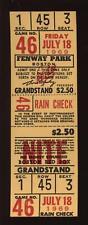 7-18 1969 Boston Red Sox Fenway Park Full Ticket EXMT