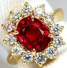 GIA 5.49CT NO HEAT VIVID RED SPINEL DIAMOND RING 18KT UNHEATED +