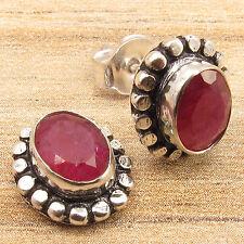 Simulated RUBY Gemstones Lovely Designer Little Stud Earrings, 925 Silver Plated