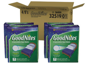 36 Goodnites Disposable Bed Mats for Bedwetting, 2.4 x 2.8 ft, 4 Packs of 9
