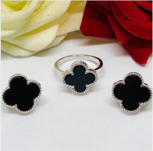 AAA QUALITY STERLING 925 SILVER LADY JEWELRY BLACK ONYX EARRINGS & RING SET