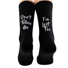 Don't Follow me I'm Lost Too Mens Black Socks UK Size 5-12 - X6N664