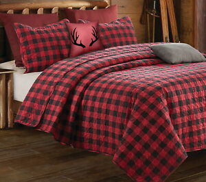 RED BUFFALO PLAID 3pc Full Queen QUILT SET : BLACK CHECK CABIN COUNTRY LODGE