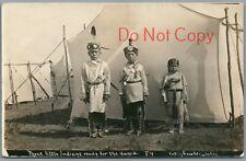 THREE LITTLE INDIANS READY FOR THE DANCE, BATES STUDIO, LAWTON OK RPPC POSTCARD