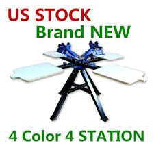 USA 4 Color 4 Station Screen Two Wheel Printing Machine Press Silk Screen Print