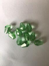 10 Tourmaline Green 5X8mm Faceted Tear Drop Glass Beads #48