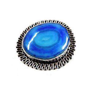Botswana Onyx Agate Gemstone 35.00Cts Silver Overlay Handmade Ring US Size 9