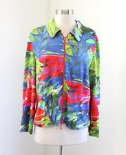 Vtg Joseph Ribkoff Vibrant Abstract Floral Zip Front Jacket Size 16 Red Blue