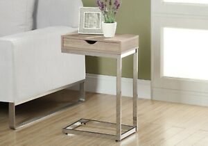 """Monarch 25"""" Contemporary Chrome Metal Base C-Shaped Side Accent Table Storage"""