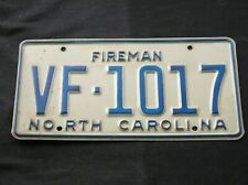 North Carolina Firefighter Fire Department License Plate
