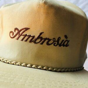 Vintage Ambrosia Brown Cream Hat Cap Derby Cap Adjustable